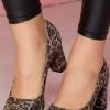 Pantofi cu imprimeu leopard cu toc gros si varf rotunjit