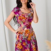 Rochie Kian violet cu flori orange