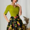 Rochie MBG cu bust verde si fusta neagra cu imprimeuri florale