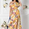 Rochie Samira lunga galbena cu imprimeu floral