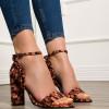 Sandale corai cu negru din piele cu volanase la calcai
