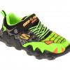 Pantofi sport SKECHERS verzi, SKECH-O-SAURUS LIGHTS, din piele ecologica