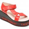 Sandale LABOUR rosii, EY0616, din piele naturala