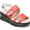 Sandale LABOUR rosii, EY1901, din piele naturala