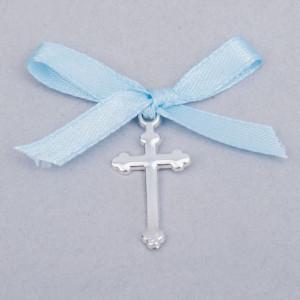 Cruciulite botez simple cu fundita bleu