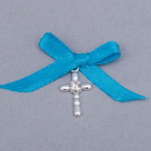 Cruciulite botez strass transparent si fundita turcoaz