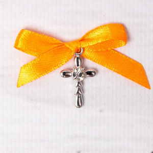 Cruciulite botez strass transparent si fundita portocalie