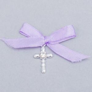 Cruciulite botez strass transparent si fundita lila