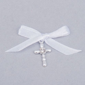 Cruciulite botez strass transparent si fundita alba