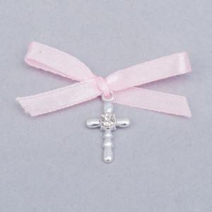 Cruciulita botez strass transparent si fundita roz
