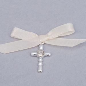 Cruciulite botez strass transparent si fundita ivory