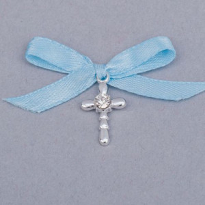 Cruciulite botez strass transparent si fundita bleu