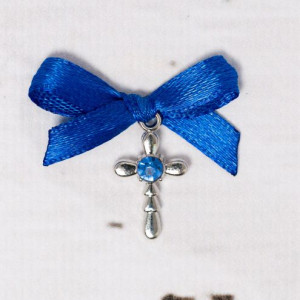 Cruciulite botez strass si fundita albastre