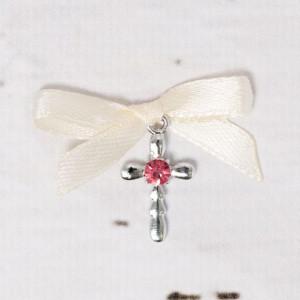 Cruciulite botez strass roz si fundita ivory