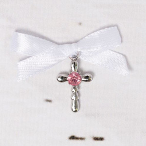 Cruciulite botez strass roz si fundita alba