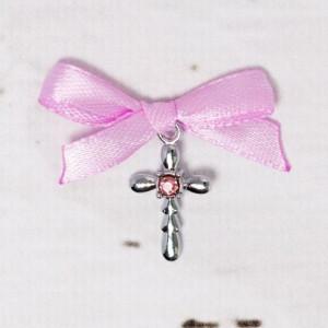Cruciulite botez strass roz si fundita lila