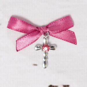 Cruciulite botez strass roz si fundita roz prafuit