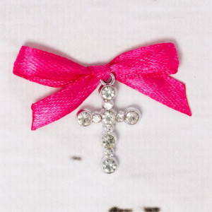 Cruciulite botez strassuri transparente si fundita roz fucsia