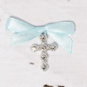 Cruciulite botez strassuri transparente si fundita bleu