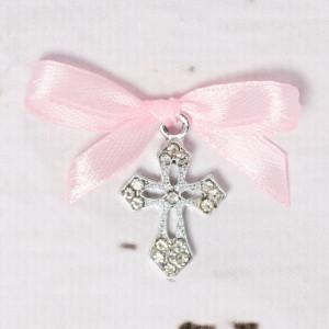Cruciulite botez elegante cu fundita roz