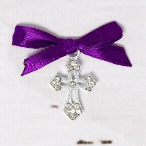 Cruciulite botez elegante cu fundita mov