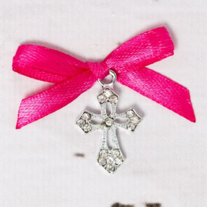 Cruciulite botez elegante cu fundita roz fucsia