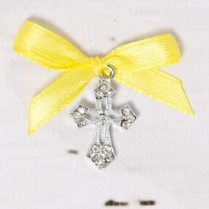 Cruciulite botez elegante cu fundita galbena