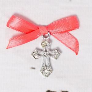 Cruciulite botez elegante cu fundita corai