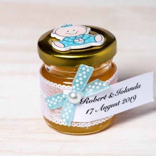 Marturii botez borcanele miere cu bebelus pijama bleu