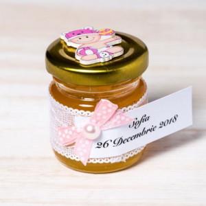 Marturii borcanele miere botez cu decor roz si bebelus vesel
