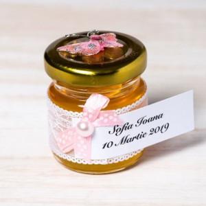 Marturii botez borcanele miere cu fluture roz