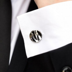 Set butoni camasa si ac cravata cu model negru
