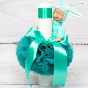Lumanare botez decor tulle verde menta si bebelus