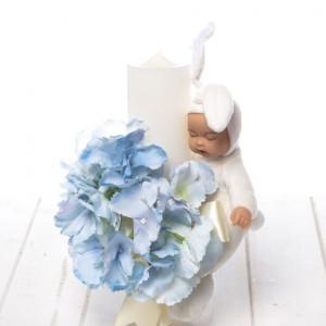 Lumanare botez buchet albastru flori si bebelus