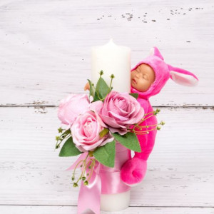 Lumanare botez trandafiri roz si bebelus