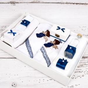 Trusou botez ingeras cu dantela bleumarin