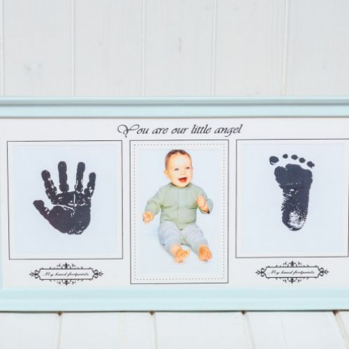Rama foto bleu cu amprenta bebelus