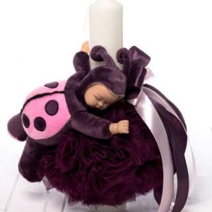 Lumanare botez decor mov si figurina bebelus