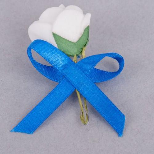 Cocarde trandafir alb fundita albastra