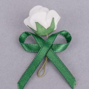 Cocarde trandafir alb fundita verde