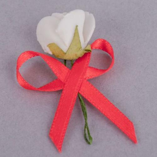 Cocarde trandafir alb fundita rosie