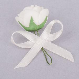 Cocarde trandafir alb fundita ivory