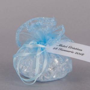 Marturii nunta saculeti rotunzi bleu cu fir argintiu