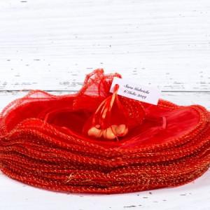 Marturii nunta saculeti rotunzi rosii cu fir auriu