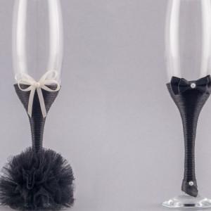 Set pahare nunta negru
