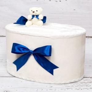 Cutie de dar baieti cu ursulet si funda albastra