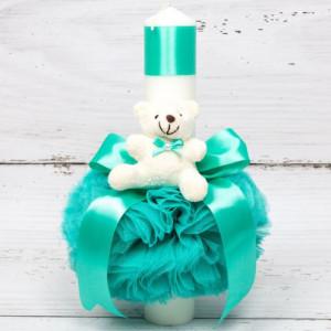 Lumanare botez verde menta cu ursulet plus