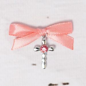 Cruciulite botez strass roz si fundita piersica