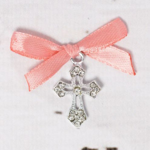 Cruciulite botez elegante cu fundita piersica
