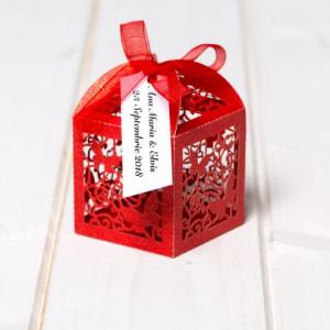 Marturii botez cutiute laser cut cu fluturas rosu